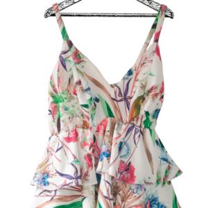 Blusa de tiras escote en v corte peplum blanca con estampado floral