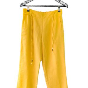 Pantalón mostaza con bolsillos y arrunchado en cintura marca Esprit