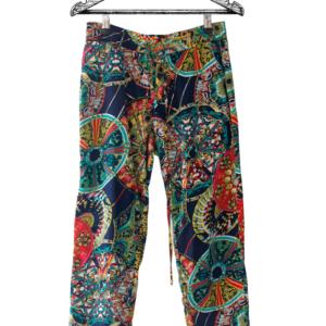 Pantalón paperbag chalis estampado étnico marca Unig