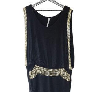 Vestido negro ajustado en pierna con apliques dorados marca Avec