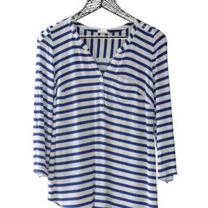 Blusa manga larga líneas azul y blanco marca Motherhood