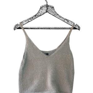 Crop top de tiras gris tejido marca Ela