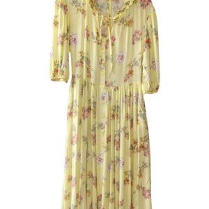 Vestido largo amarillo estampado florar con botonadura