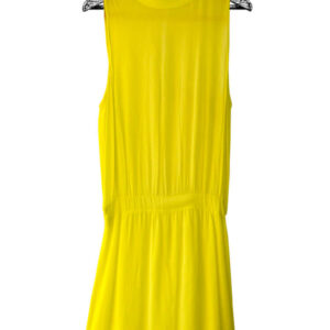 Vestido corto manga sisa amarillo con caucho en la cintura marca Zara