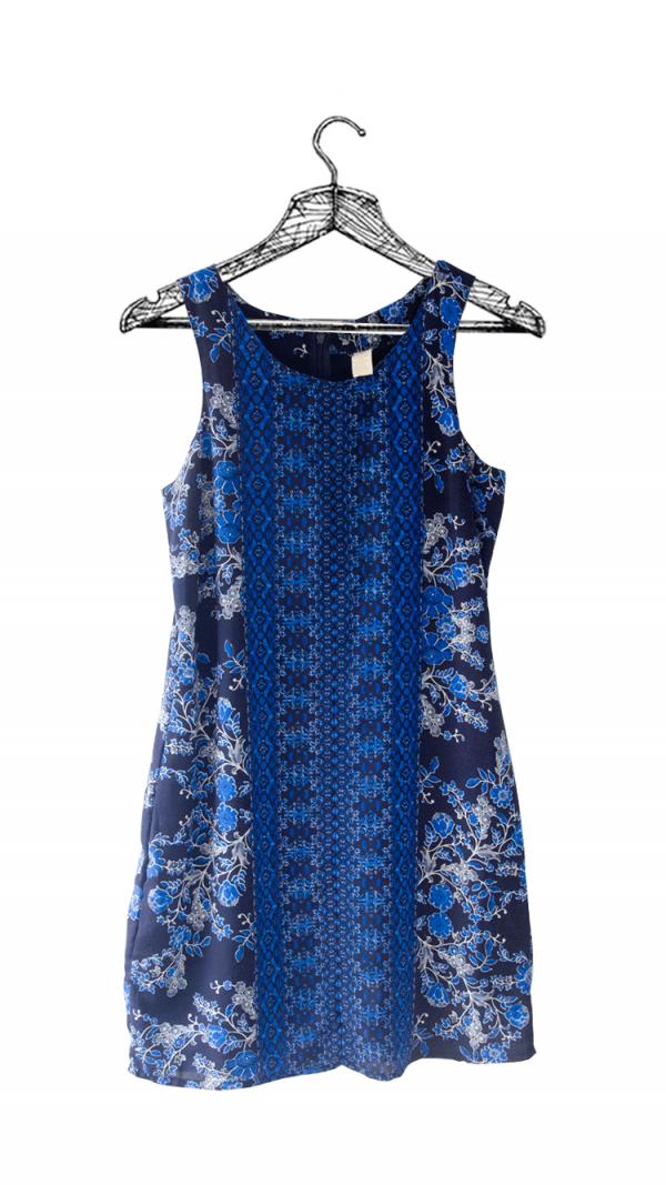 Vestido talego azul oscuro con estampado con cierre en la espalda