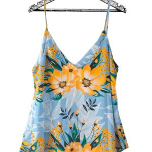 Blusa de tiras azul estampado floral escote en v