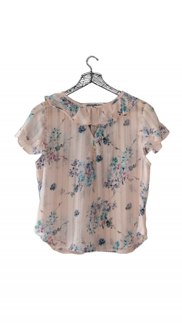 Blusa estampada de flores y rayas color durazno con gola en cuello y mangas