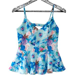 Blusa de tiras escote en v corte peplum flores azules con cierre en la espalda
