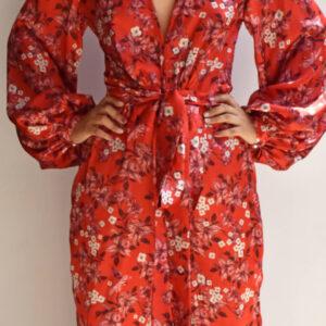 Enterizo pantalón rojo estampado floral y colibríes Anana escote en v manga larga linas closet 23