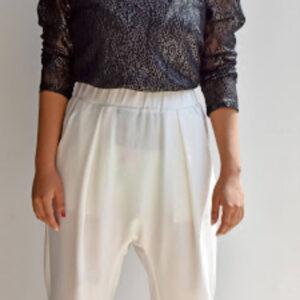 Blusa manga larga negra en malla con hombreras Wannita linas closet 31
