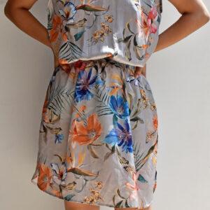 Vestido corto gris estampado floral Anana con escote en la espalda linas closet 32