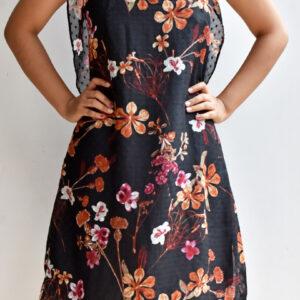 Vestido negro estampado floral con escote en la espalda Anana linas closet 35