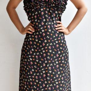 vestido largo negro de tiras estampado floral linas closet 39